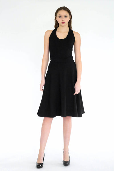 Becca little black midi dress with racer back detail