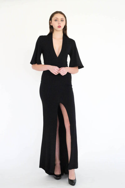 Trumane deep V and high slit evening dress