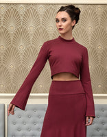 The Danika mock neck long bell sleeve crop top
