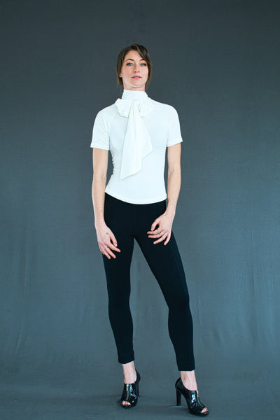 Faye Pussycat bow fitted top with short raglan sleeve