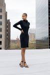 Gaia basic black long sleeve pencil dress