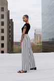 Brizo black and ivory varied striped wide leg palazzo trouser