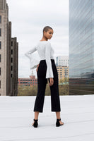 Astra high waisted cropped tuxedo trouser with belt
