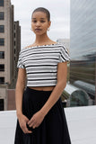Hebe varied stripe boat neck crop top