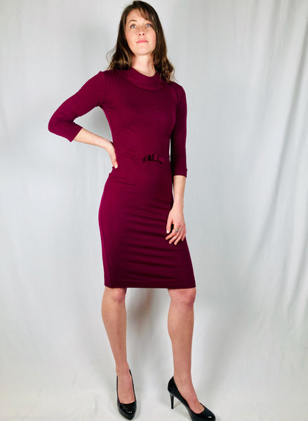 Valentina 3/4 sleeve pencil dress with bow detail and a rolled collar