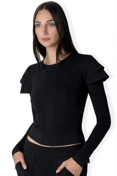 The Milda double capped bamboo jersey long sleeve tee