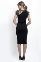 Jeanine asymmetric capped sleeve pencil dress in bamboo terry and vintage lace