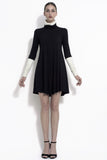 Dana colorblock bias cut tube neck dress