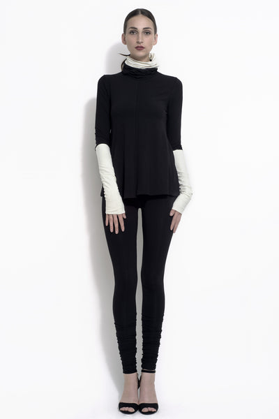 Danute colorblock tube neck top with contrasting collar and cuff