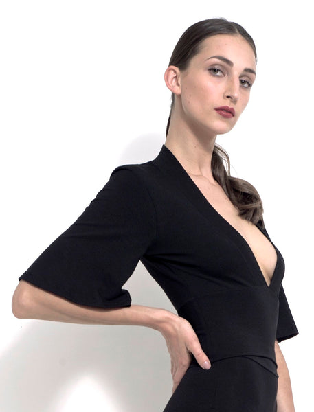 Raffaele plunging V-neck blouse in bamboo jersey