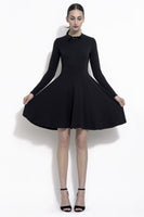 Kayley vintage style little black dress in french terry with bow accent collar