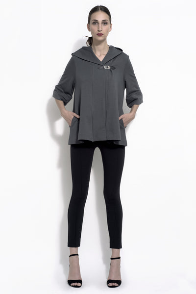 Gabby hooded swing jacket in bamboo and organic cotton french terry