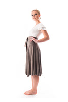 Andrea bamboo and organic cotton jersey midi circle skirt with a built in tie belt