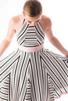 Azur striped halter sun dress in varied stripe and dusty pink bamboo jersey