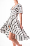 Rosanna high-low wrap dress or beach cover up in varied stripe bamboo jersey