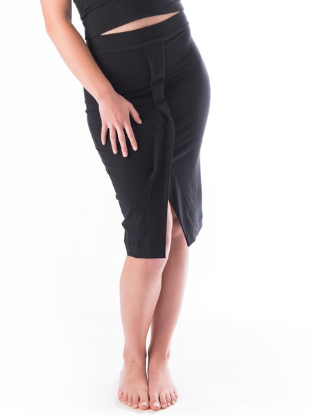 Coco pencil skirt with a fold over front flap detail made with bamboo and organic cotton french terry
