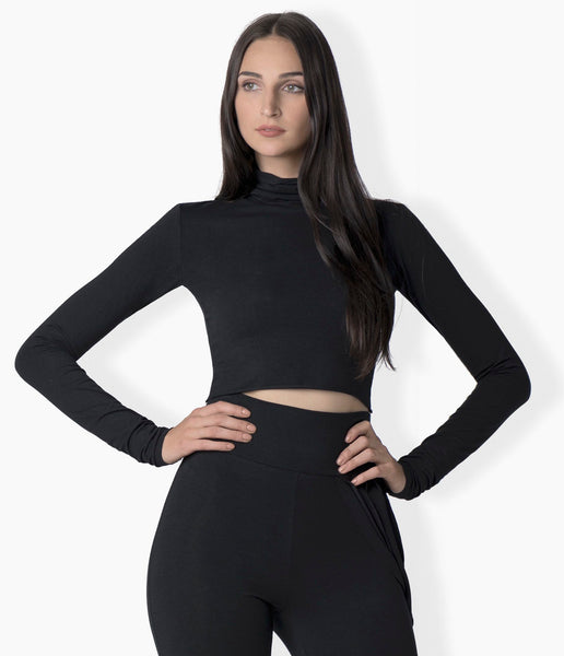Jane cropped long sleeve turtle neck in bamboo jersey