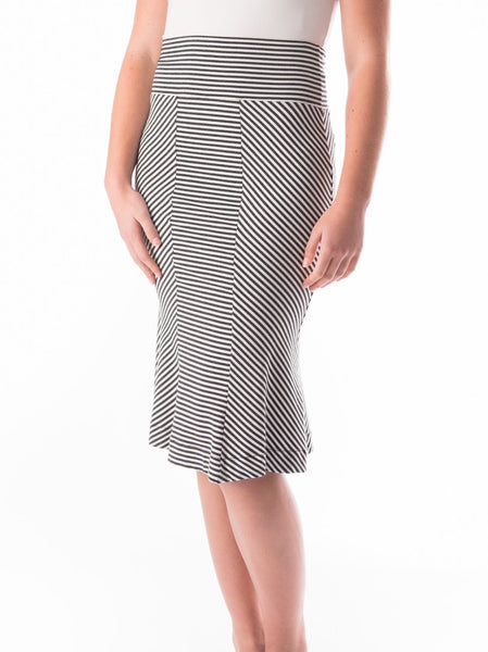 Marilyn three panel striped tulip skirt in bamboo and organic cotton stretch jersey