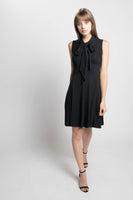 Neris bamboo and cotton jersey bias cut little black dress