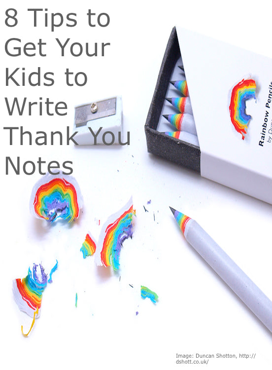 Increasing the excitement over writing a hand-written thank you notes with rainbow pencils