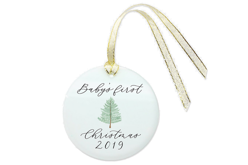 Baby's First Christmas Ornament Hand-Painted with 2019