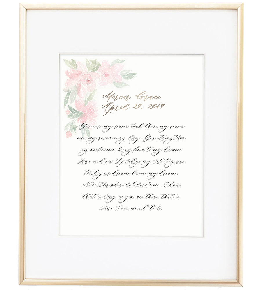 Custom Wedding Vows Hand-lettered Wall Art