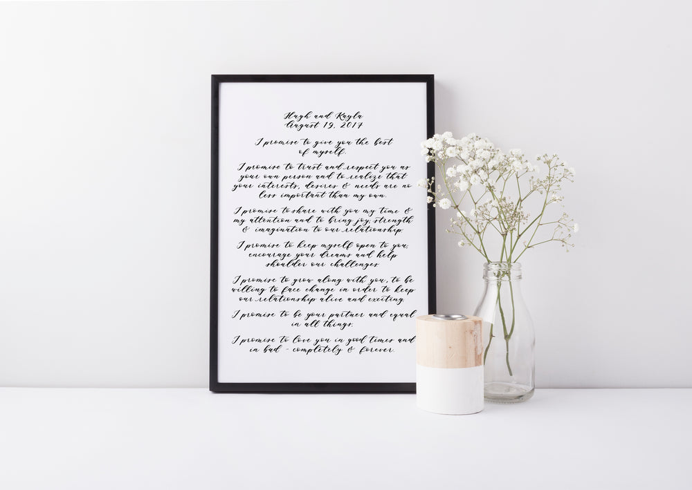 Handwritten Calligraphy Wedding Vows
