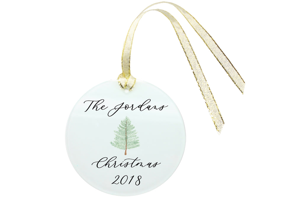 Personalized Family Christmas Ornament Hand-Calligraphed, Hand-Painted