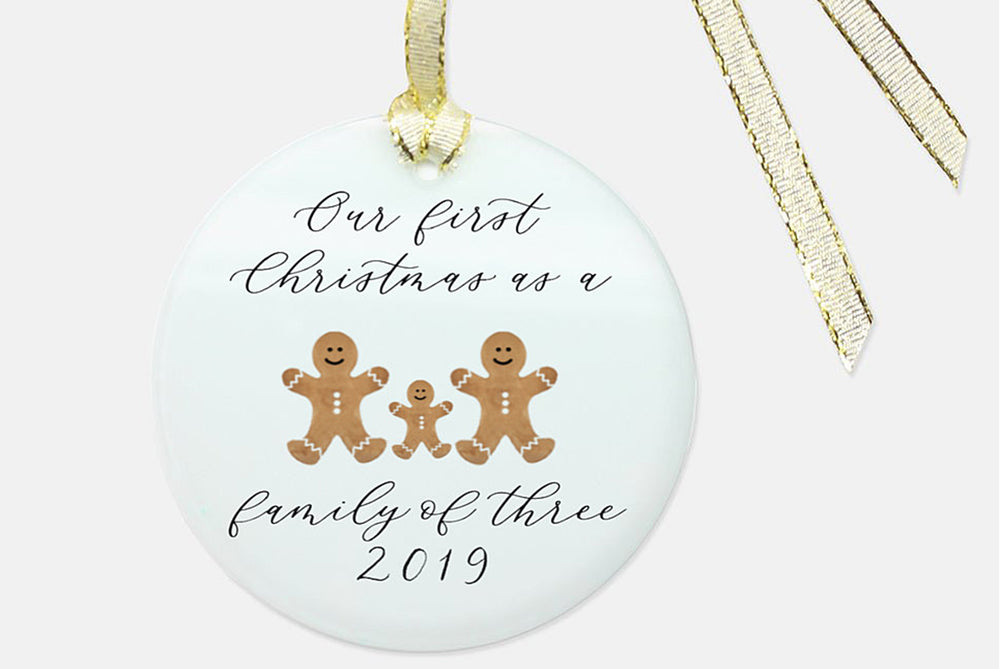 First Christmas as a Family of 3 Christmas Ornament-Everybody-Friendly-Hand Calligraphy