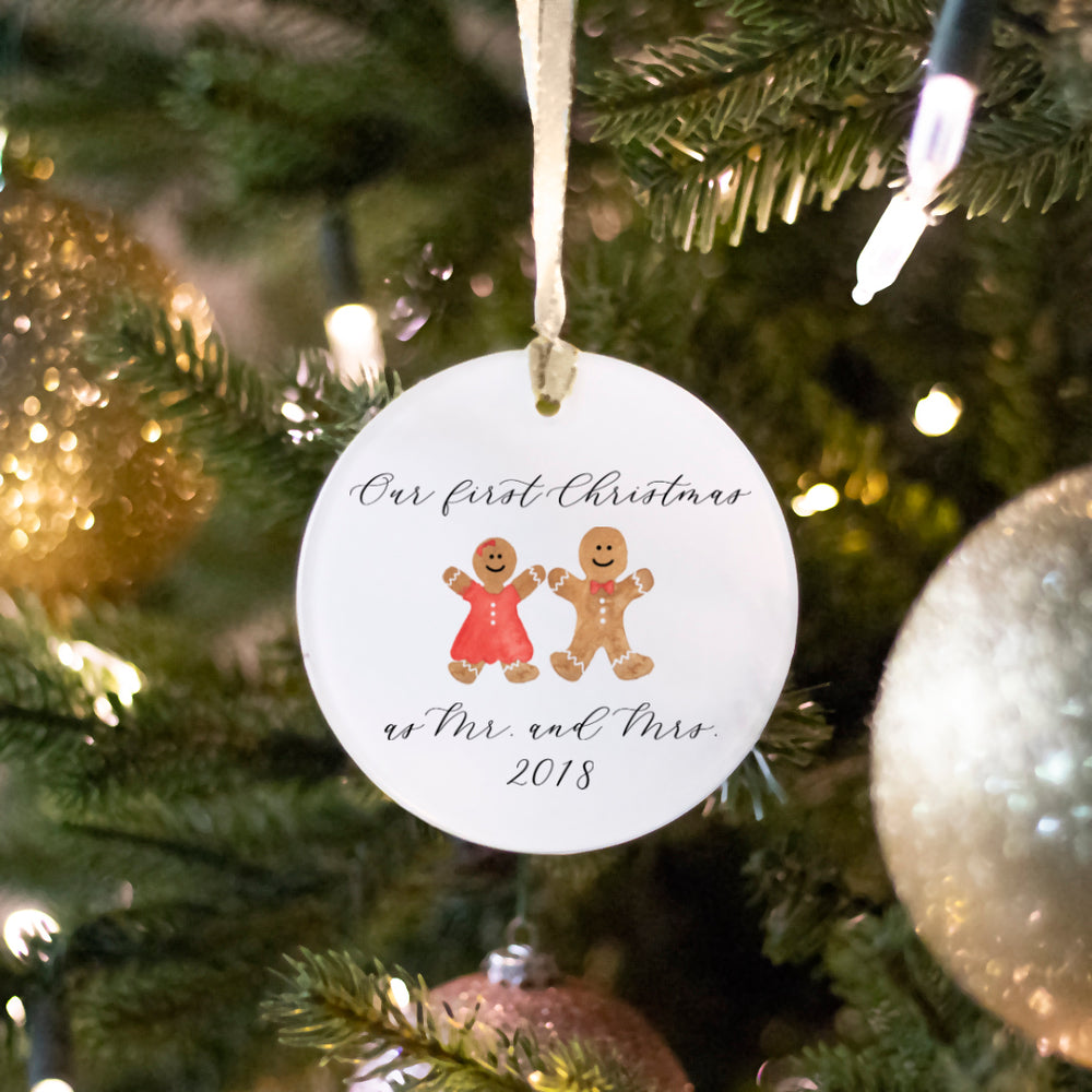 First Christmas as a Couple Ornament Hand-Calligraphed