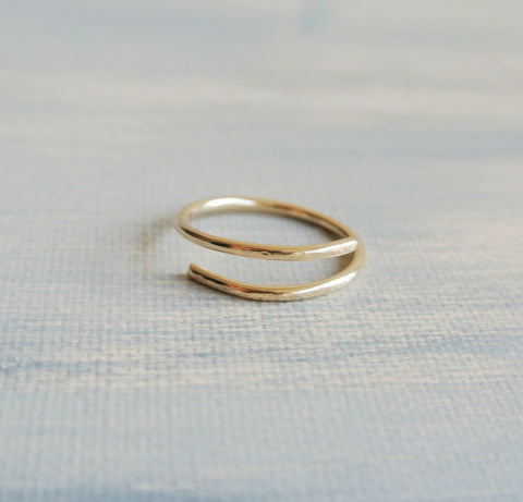 14kt Gold Filled Hammered Wrapped Ring