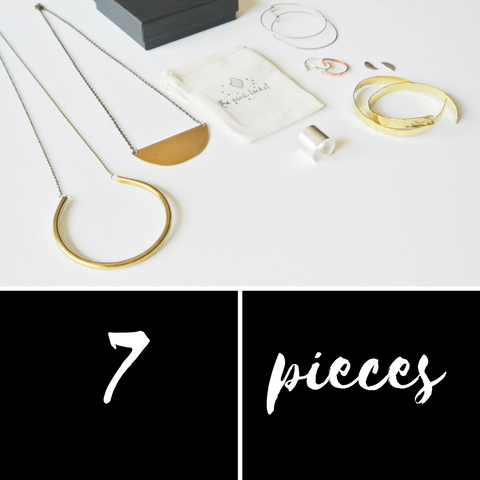 Edge Minimalist Jewelry Capsule Kit - 7 Pieces of Jewelry - The Pink Locket