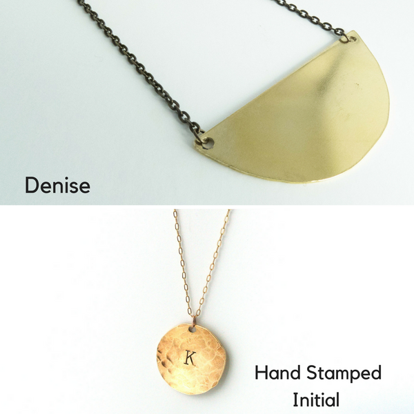 Jewelry Capsule - Initial necklace hand stamped jewelry hammered cuff sterling silver geometric earrings
