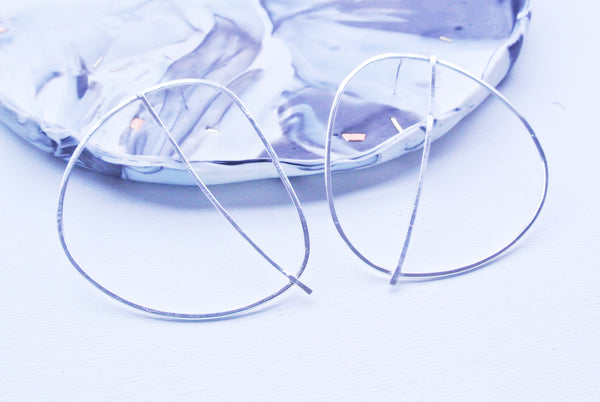 Abstract Statement Hoop Earrings - Sterling Silver