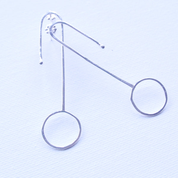Unique Geometric Match Stick and Circle Sterling Silver Statement Earrings