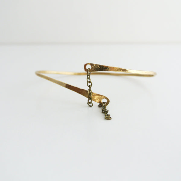 Adjustable Brass Gold Cuff Bangle Bracelet With Chain