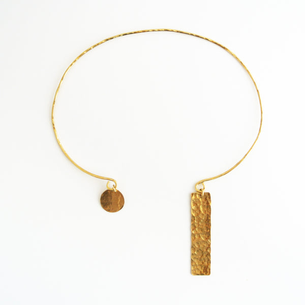 April - Brass Gold Geometric Choker Rectangle and Circle Disc