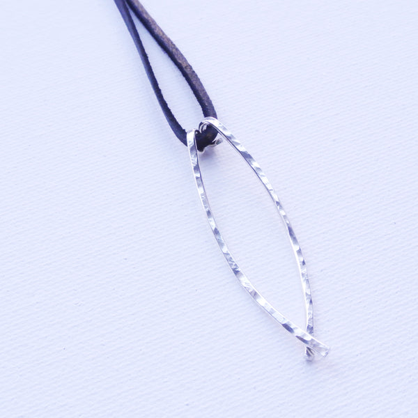 Curved Bar Argentium Silver and Black Leather Choker - Hammered Spear