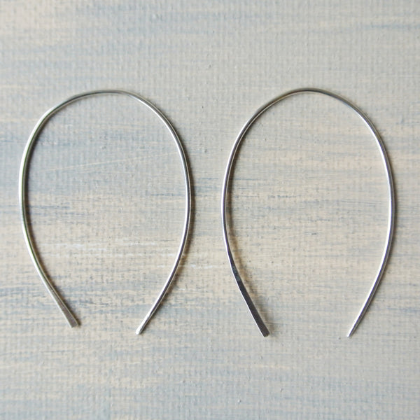 Argentium Open Hoop Earrings 2 inches long - Nickel Free