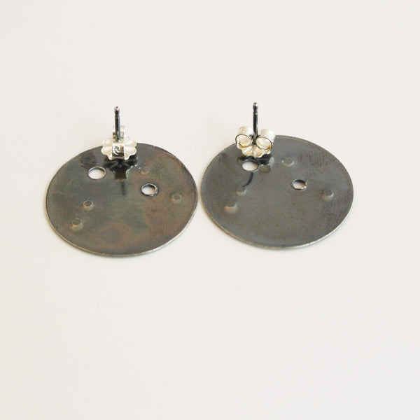 Aquarius Zodiac Constellation Sterling Silver Disc Earrings