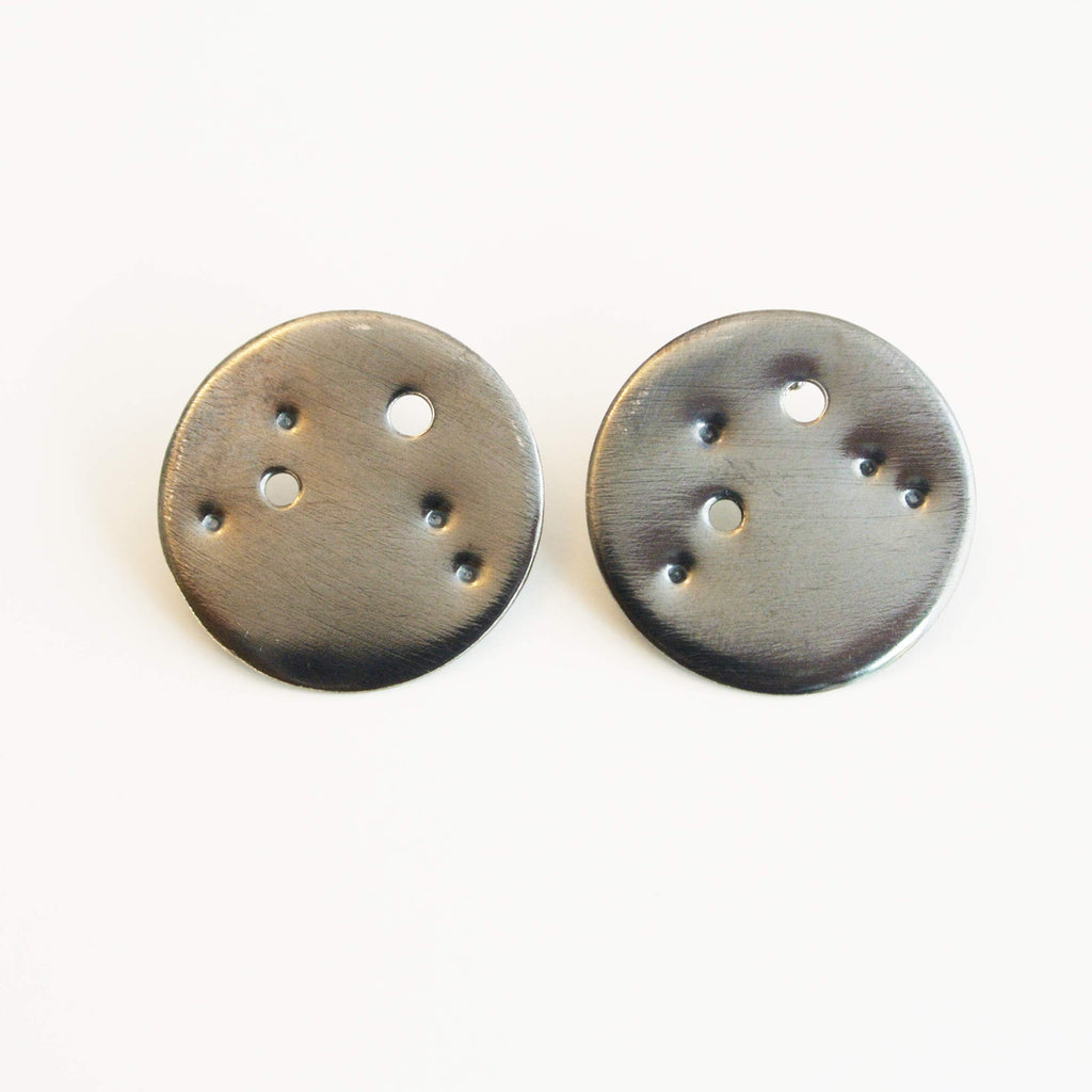 Aries Zodiac Constellation Sterling Silver Disc Earrings