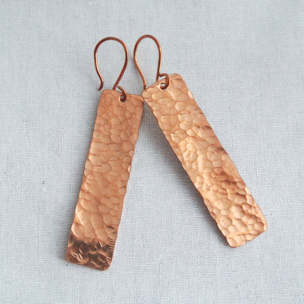 Blake - Rectangle Copper Drop Earrings - The Pink Locket - 2