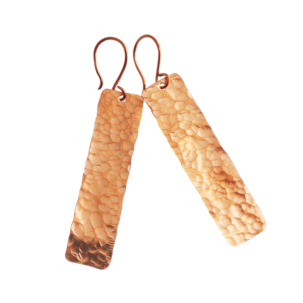 Blake - Rectangle Copper Drop Earrings - The Pink Locket - 1