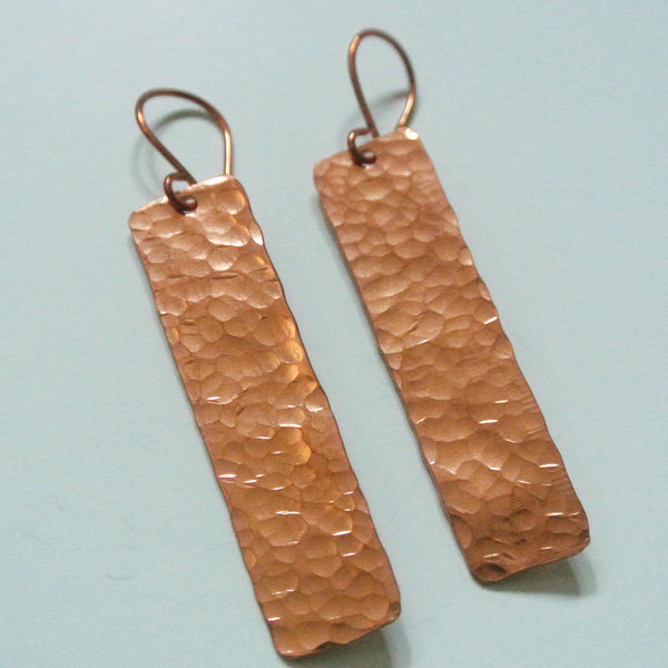 Blake - Rectangle Copper Drop Earrings - The Pink Locket - 3