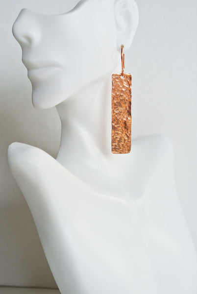 Blake - Rectangle Copper Drop Earrings - The Pink Locket - 4