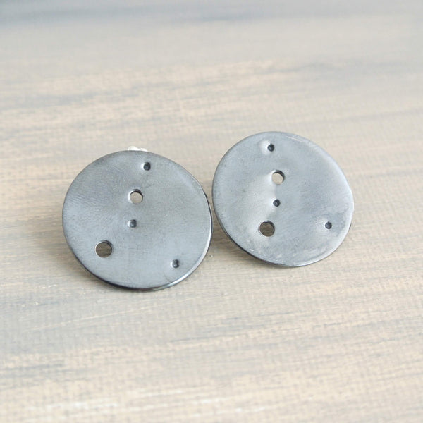 Cancer Zodiac Constellation Sterling Silver Disc Earrings