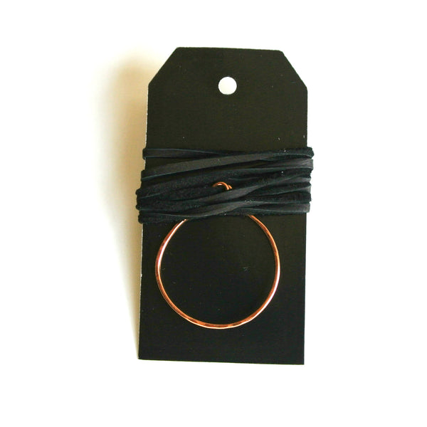 Circle Copper and Black Leather Choker - Pendant 34 mm wide
