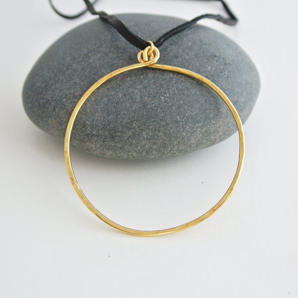 Circle Gold Brass and Black Leather Choker
