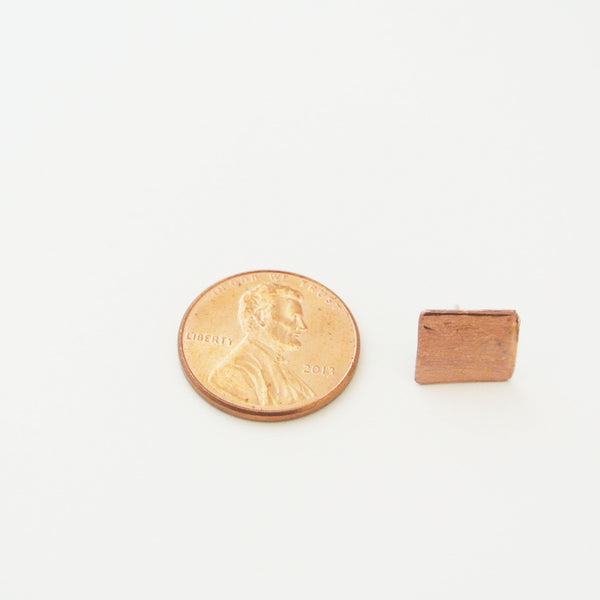 Milana - Rectangle Copper Stud Earrings - The Pink Locket - 5
