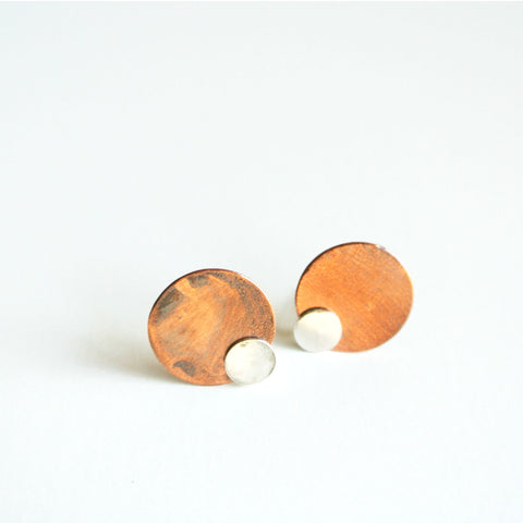 Copper and Sterling Silver Disc Stud Ear Jacket Earrings